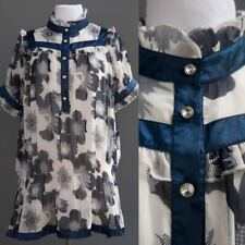 Victorian Ruffled Collar Drop Waist Tunic Top Sheer Diaphanous Mini Dress Blue M