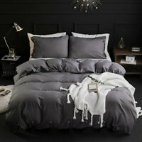 3Piece Down Quilt Cover Bedding Comforter Sets,Solid Button ,Dark Gray, King