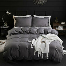 3 Piece Soft Down Quilt Cover Bedding Cover Sets , Solid Button ,Dark Gray, King