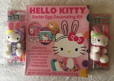 Two HELLO KITTY Easter BUNNY Plush PEZ Candy Dispenser Clip On And Dye Kit Also