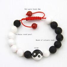 Porcelain Taiji Volcanic Rock Shell Tibet Buddhist Prayer Beads Mala Bracelet