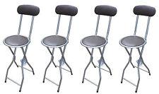 4 xbrown rembourré pliant chaise haute petit déjeuner cuisine pvc tabouret de bar soft siège 94cm