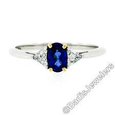 Tiffany & Co. Platinum 18K Gold 1.25ct GIA Oval Sapphire & Trillion Diamond Ring