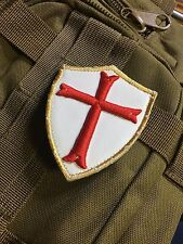 3D LEATHER patch CRUSADER Cross Shield Templar Knights CHRISTIAN ARMY Morale