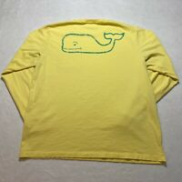 Vineyard Vines Long Sleeve T-Shirt Size L Yellow Double Sided Whale Spell Out