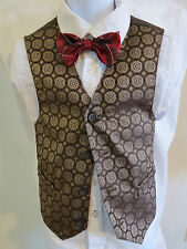 4T Brown Medallion Print Polyester #26I Toddler Boys Indie Suit Vest Waistcoat