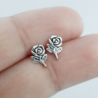 925 Sterling Silver Oxidized Flower Rose Stud Earrings Cartilage helix tragus