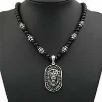 Men's 8mm Black Onyx Beads Silver LION Tag Stainless Steel Pendant Necklace Set