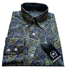 Relco Mens Paisley Shirt Size 3XL Long Sleeve Button Down Collar Mod Retro Vtg