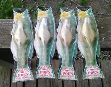 4 Vintage Poe's Cedar Hand Crafted Crankbaits 300 and 400 Series