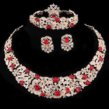 Women Gold Plated Red Rhinestone Crystal Pendant Necklace Ring Party Jewelry Set