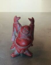"""Red Carved Buddha Smiling Miniature 1 1/2"""" Good Luck & Fortune"""