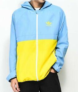 Adidas Skateboarding Windbreaker Jacket Size Large Blue Yellow