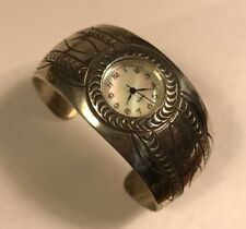 Vintage Cuff Watch Band .925 Sterling Silver Southwest Stamped Design Womens