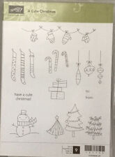 "Stampin Up! ""A Cute Christmas"" Holiday Rubber Stamps ""New"""
