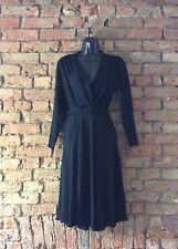 1940s Black Crepe Silk French Vintage Dress