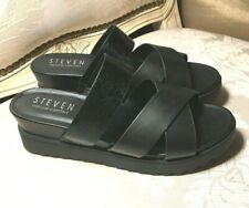 New Steven Natural Comfort NC-Kickw Black Leather Sandals Size 9.5W Steve Madden