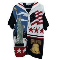 The Eagle's Eye Firework Liberty Bell NYC Statue Of Liberty Sweater VTG Size M