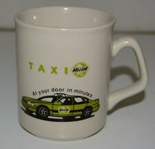 Vintage Bell Cab TAXI Coffee Mug Green Car From Los Angeles CA Rare