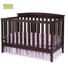Convertible Baby Bed Full Crib Infant Nursery Furniture Toddler Infant Brown New