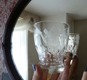Antique Vintage Masonic Whisky Glass, Art Deco era, h10,2cm