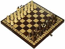 Folding Chess Board Set - Hand Crafted Game Board and Wooden Pieces - 12 Inch