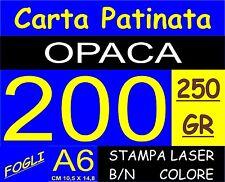 200 FOGLI Carta 250GR fotografica PATINATA OPACA stampante laser A6 14.8X10.5CM