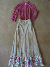 1900s Victorian PRAIRIE PIONEER western frontier top/tan skirt costume size 12