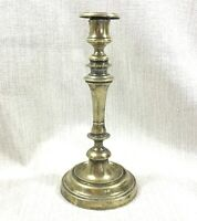 Antique French Brass Candlestick Beaded Trim Rustic Vintage Distressed