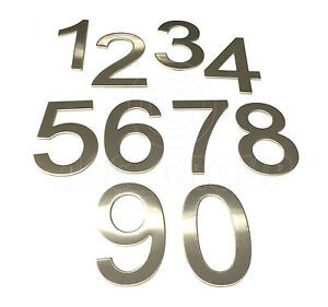 Brushed Stainless Steel House Numbers Stick on 3M Adhesive 10cm Tall - 1 to 9999