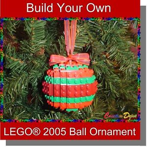 Build-Your-Own LEGO® Christmas Ball Holiday Tree Ornament - Choose Colors