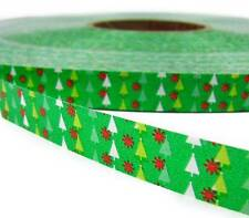 """SALE .15/yd! - 10 Yds Green Tiny Christmas Trees Acetate Ribbon 1/2""""W"""
