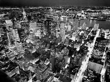 MANHATTAN NEW YORK NOTTE PHOTO ART PICTURE PRINT Arial Cityscape B & W 60x80