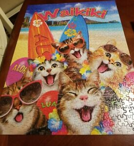 Waikiki Cat Selfies Beach Jigsaw Puzzle 550 Large Pieces Ceaco Silly 18 x 24