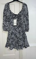 ZARA BLACK/ WHITE ANIMAL PRINTED PUFF SLEEVES MINI DRESS WITH RUFFLE SIZE XXL