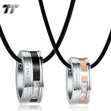 TT Black/Rose Gold S.Steel Oval Love Pendant Necklace For Couple Engravable