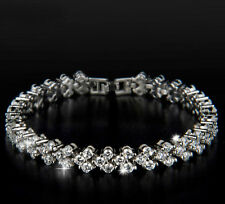 18K REAL WHITE GOLD FILLED MADE WITH SWAROVSKI CRYSTALS TENNIS CHAIN BRACELET 2
