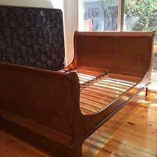Queen Sleigh Bed Australian Made Solid Wood Construction Orthapedic Matress