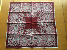 Vintage Womens Scarf Headscarf Bandana Acetate 1970s Brown Pink Floral Paisley