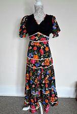 LADIES VINTAGE 70s BOHO FLORAL DRESS SIZE 6-8