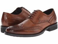 Men's Shoes Kenneth Cole Gold Mind Leather Wingtip Oxford KMF5LE082 COGNAC