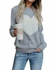 Free Rose Women's Pullover Sweaters Long Sleeve Crewneck Cute Heart Knitted Swea