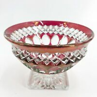 "Vintage EAPG Red Clear Glass Thumbprint Berry Bowl Footed 4 1/2"" X 3 1/4"""