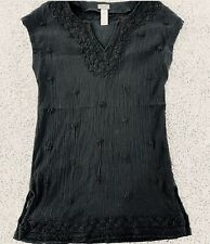 Tommy Bahama M Black Swim Cover Up Sleeveless Semi Sheer Great Preown