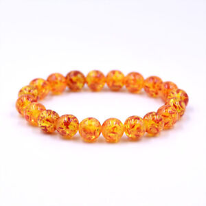 Good Resin Amber Round Bead Bracelet Elastic Stretch Bangle 6MM 8MM 10MM 12MM