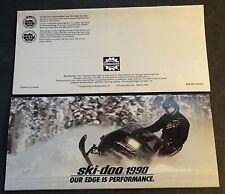 "1990 SKI-DOO MACH 1 & FULL LINE SNOWMOBILE SALES BROCHURE 3 1/2"" x 7""  (744)"