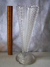 """LEAD GLASS VICTORIAN PRESSED PITCHER 12"""" TALL X 4"""" WIDE  PERFECT CONDITION  #444"""