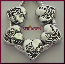 5 Love Heart Floral Design Spacer Charms European Style 10 x 11 & 5mm Hole S151