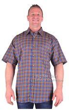 Big Mens Blue Tan Cotton Valley Prism S/S Check Shirt Sizes 2xl to 8xl