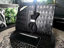 Mens handbag briefcase Shoulder Bag Messenger Black Skull rivets + flat wallet